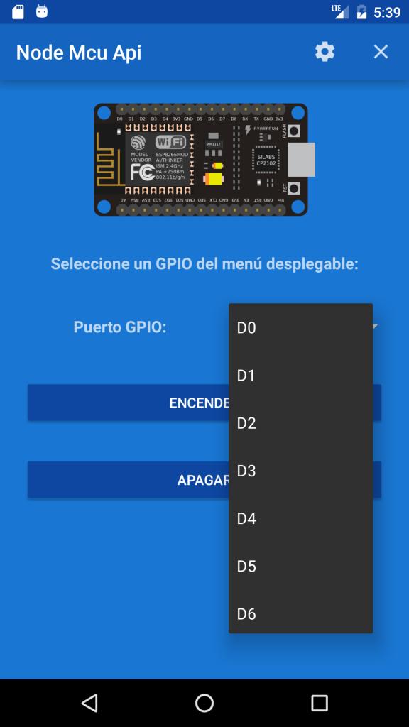 Selección del GPIO. Nodemcu esp8266.