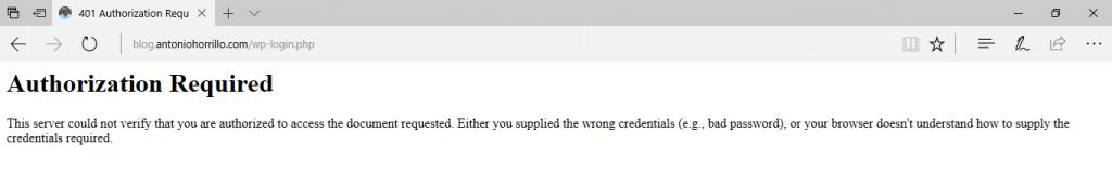 login htaccess error 401